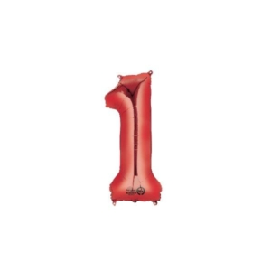 Globo Foil número 0 en color rojo